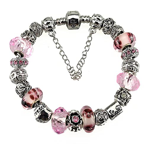 e3a839a07 Amazon.com: White Birch Charm Bracelets for Women with Charms for Pandora  Silver Plated Pink Love 7.8