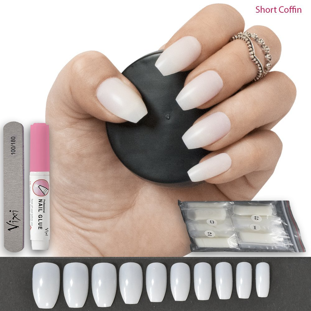 100 Pieces Short Coffin/Ballerina False Nails, 10 Sizes - Full Cover Opaque Nails For Nail Salons & DIY Nail Art ♥ FREE GLUE ♥ & ♥ SMALL PREP FILE ♥ Vixi