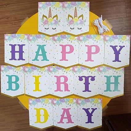 amazon com unicorn birthday party supplies happy birthday banner
