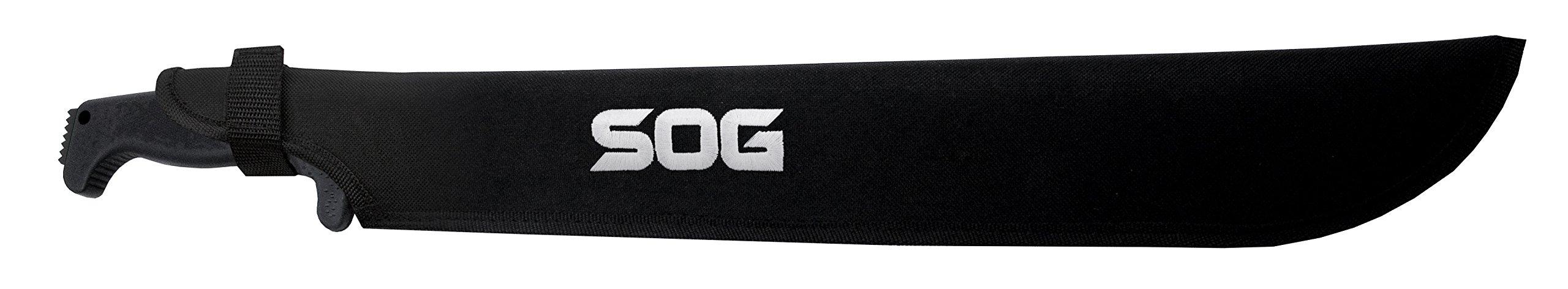 SOG SOGfari 18'' Machete MC02-N - Hardcased Black Blade w/Saw Back, Rubber Handle, Nylon Sheath