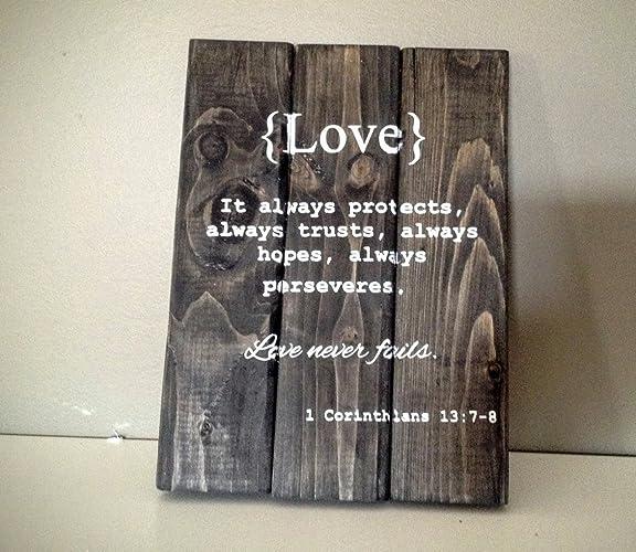 1b112af9e65e Amazon.com  Wood Finds Love - Corinthians 13 7 8 Rustic Pallet Wood ...