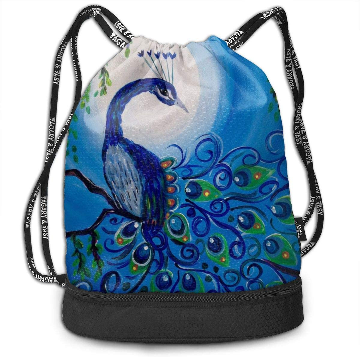 GymSack Drawstring Bag Sackpack Peacock Sport Cinch Pack Simple Bundle Pocke Backpack For Men Women