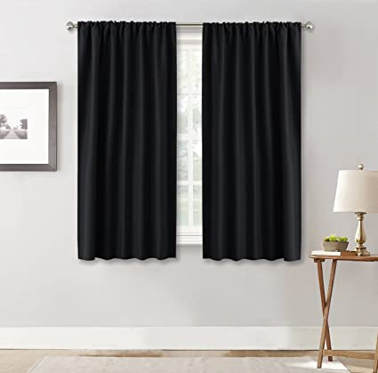 RYB HOME Black Window Curtains And Drapes (42u0026quot; X 45u0026quot;, Black,