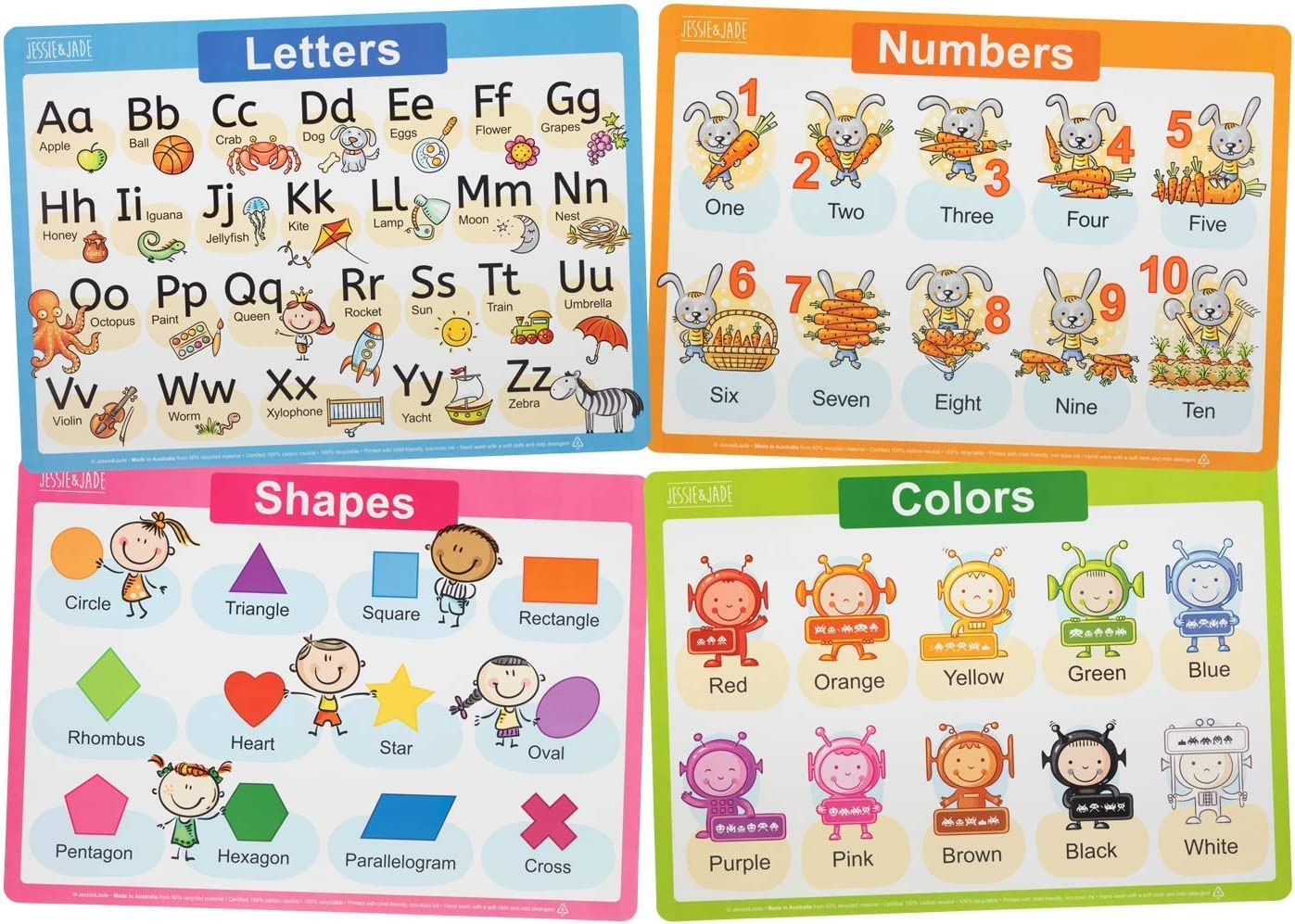 Jessie&Jade Educational Placemats for Kids - Set of 4: Alphabet, Numbers, Shapes, Colors - Washable, Durable, Reusable - Large Learning Mats for Toddlers, Preschoolers - Plastic Kids Placemat Non Slip