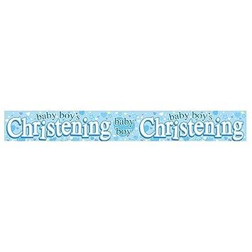 happy christening banner blue boy