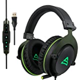 SUPSOO USB Stereo Gaming Headset for PC, Noise Cancelling Over Ear Headphones with Mic, Surround Sound, Soft Memory…