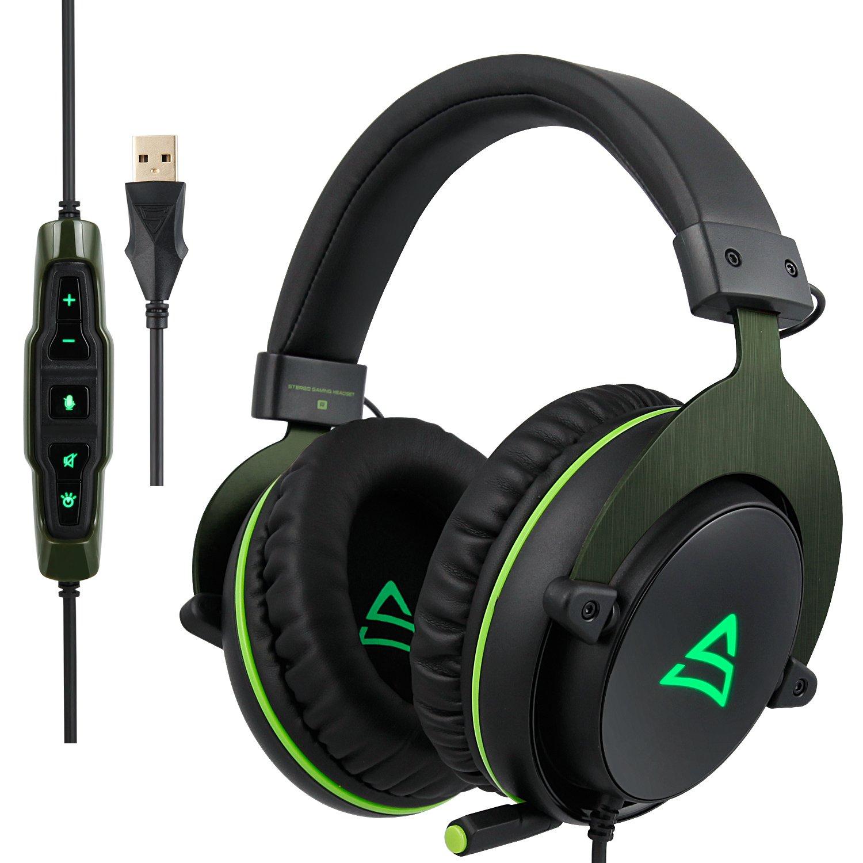 Supsoo G817 Gaming cuffie USB stereo con controllo volume e microfono LED luce per PC/laptop/Mac G-817