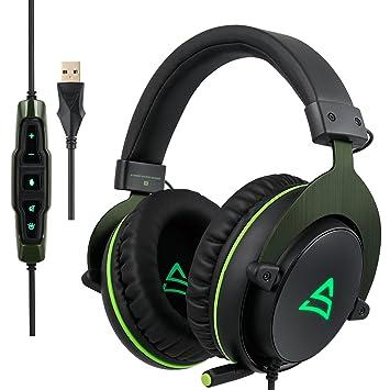 supsoo G817 Gaming Headset Auriculares USB estéreo con micrófono Control de volumen luz de LED para