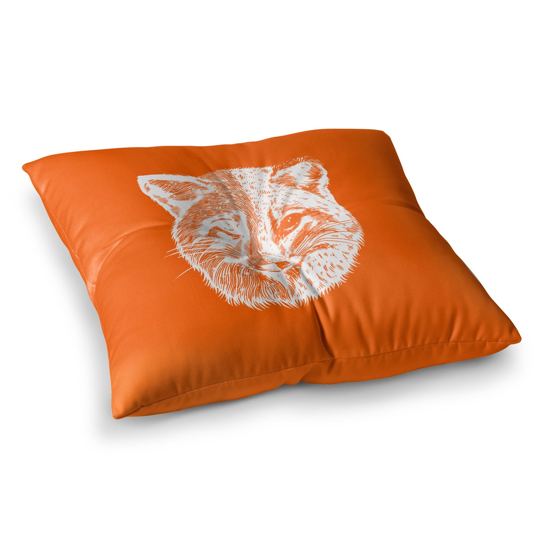 26 x 26 Square Floor Pillow Kess InHouse BarmalisiRTB Foxface Orange Digital