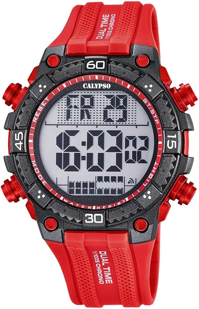 Calypso Hombre Reloj Digital con Pantalla LCD Pantalla Digital Dial y Correa de plástico de Color Rojo, K5701/2