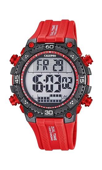 Calypso Hombre Reloj Digital con Pantalla LCD Pantalla Digital Dial y Correa de plástico de Color Rojo, K5701/2: Amazon.es: Relojes