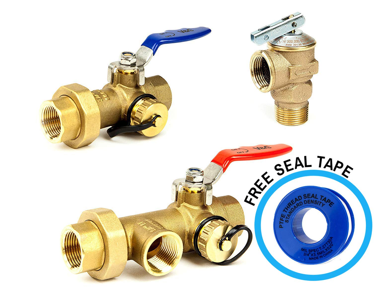 Tankless Water Heater Flush Kit 3/4'' Lead Free Isolation Service Valves 3/4-Inch Temperature Pressure Relief Valve for Hot Water Heaters Single Handle Full Port IPS Isolator Brass NSF-61 by V & G