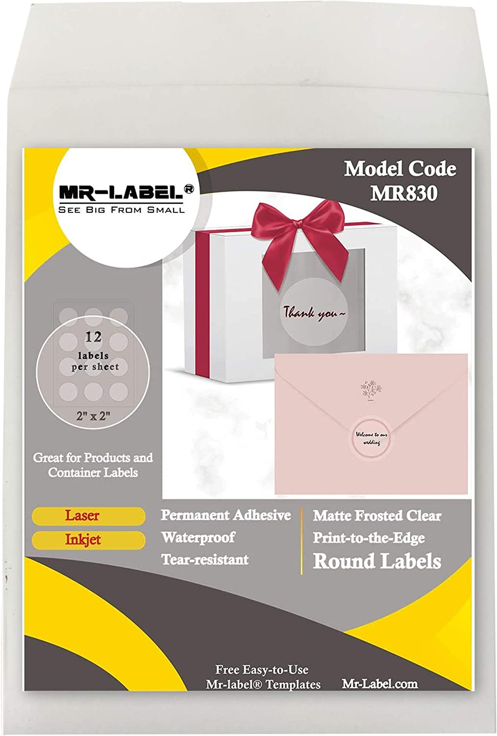 "Mr-Label 2"" Matte Frosted Clear Round Labels - Waterproof and Tear-Resistant - for Inkjet & Laser Printer - Permanent Adhesive - for Food Package 