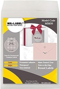 "Mr-Label 2"" Matte Frosted Clear Round Labels - Waterproof and Tear-Resistant - for Inkjet & Laser Printer - Permanent Adhesive - for Food Package   Bottle   Jar   Envelope (120 Labels)"