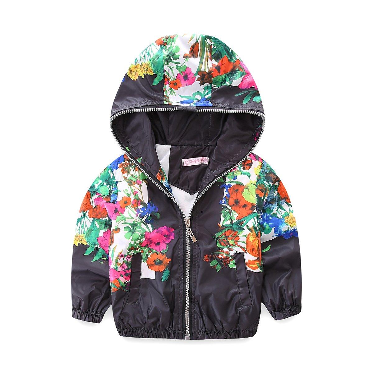 28af678d5da1 Amazon.com  Mud Kingdom Little Girls Jackets Floral with Hood Thin ...
