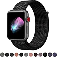 Yunsea Compatible Apple Watch Band 38mm 42mm, Soft Nylon Sport Loop Hook Loop Fastener, Replacement Band Compatible iWatch Series 1/2/3