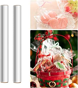 STOBOK 2 Rolls Clear Cellophane Wrap Roll | Width 15.7 inches Length 100Ft 2.5 Mil Thick,Transparent Flowers Baskets Food Gift Crystal Wrappings Paper Food Safe Packing Paper