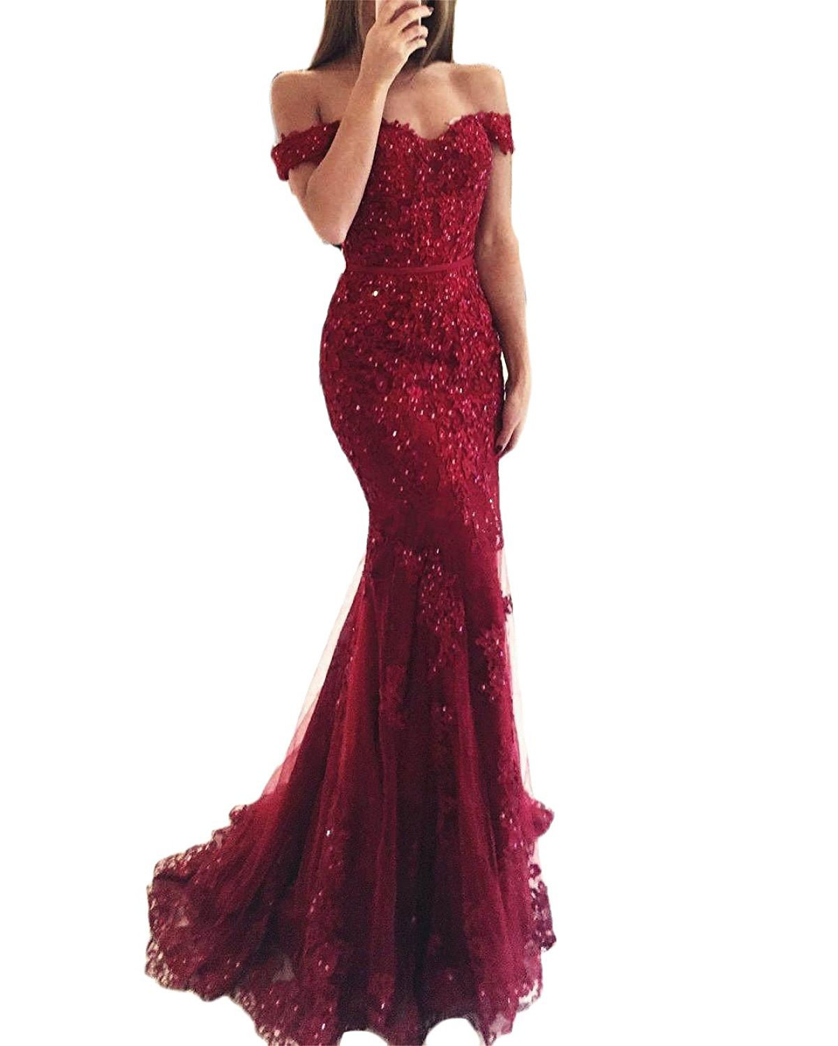 WuliDress Women's Off The Shoulder Lace Evening Prom Dress Mermaid Style 2018 V Neck Ball Gown Burgundy Size 6