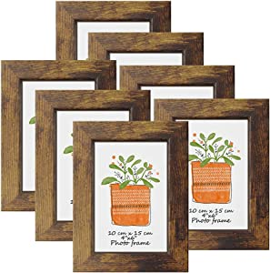 PETAFLOP Picture Frames 4x6 Rustic Frame Fits 4 by 6 Inch Prints Wall Tabletop Display, 7 Pack