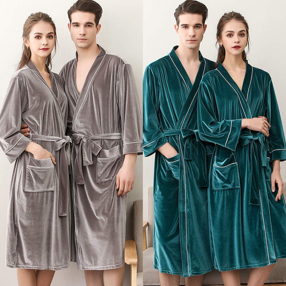 dds5391 Lightweight Men Women Autumn Velvet Long Sleeve Bathrobe Home Sleepwear Nightgown Pajama Wine Red Women-XXXL