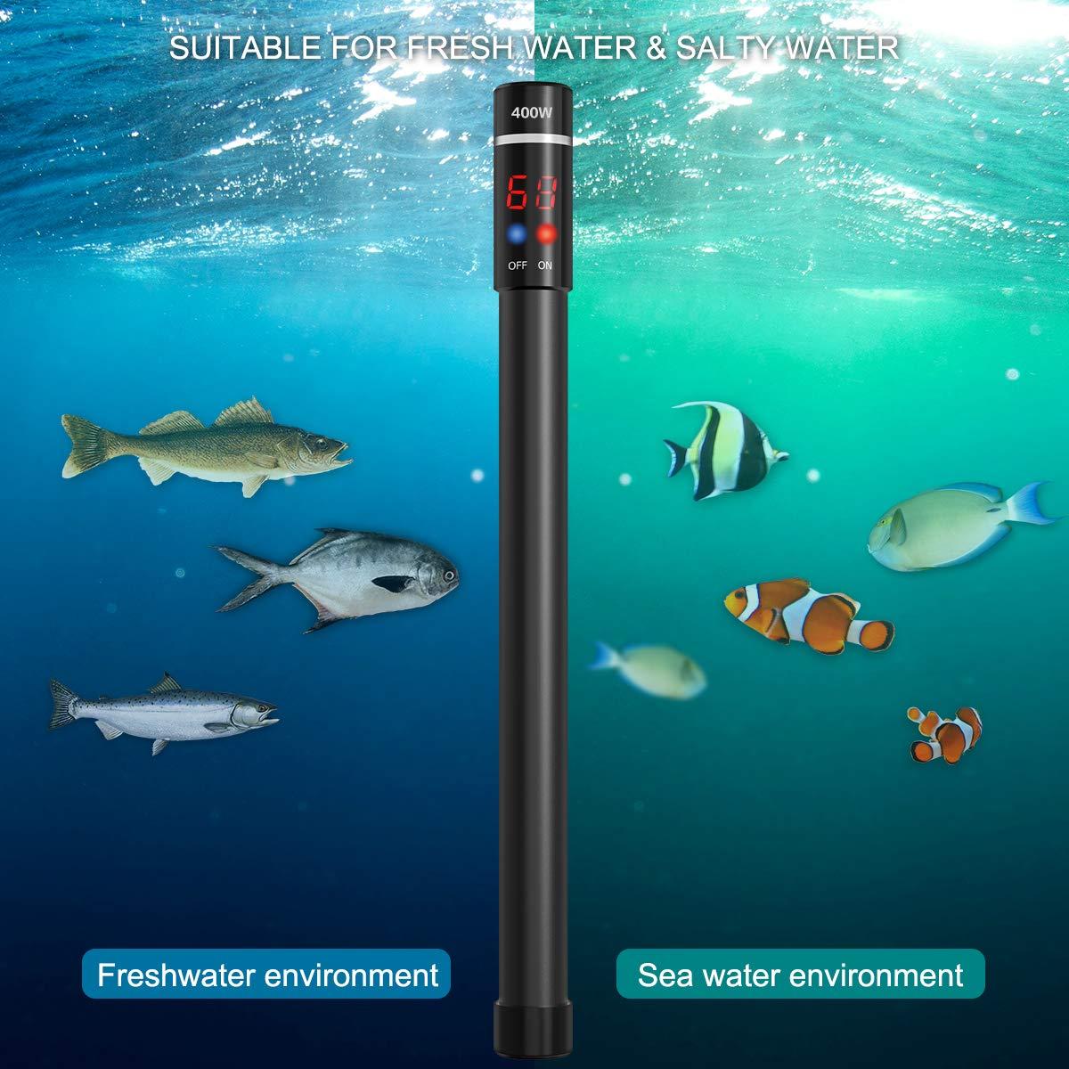 UEETEK Aquarium Heater 400W, Submersible Titanium Fish Tank Heaters Thermostat with Intelligent LED Temperature Display by UEETEK (Image #8)