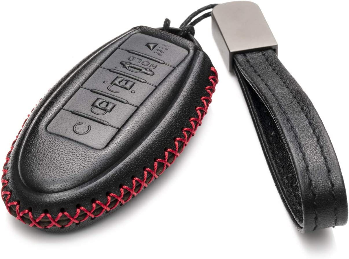 Vitodeco Leather Smart Key Fob Case Cover for 2020 Nissan Versa QX60 Q60 Rogue Altima 2020 Infiniti Q50 QX50 Sentra QX80 and More Models 5 Buttons, Black//Red Maxima