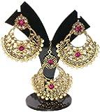 Sadhana Collection Traditional Gold Plated Kundan Chandbali Earring Set With Maang Tikka For Women
