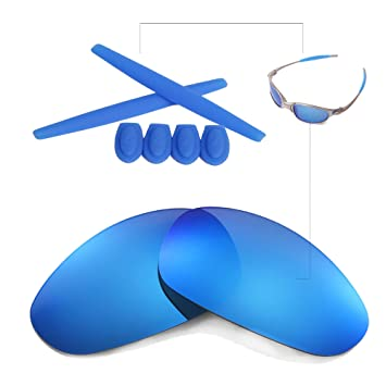 778ad8bef1 Walleva Polarized Lenses And Rubber Kit(Earsocks+Temple Shocks) For Oakley  Juliet (Ice Blue Coated Polarized Lenses + Blue Rubber)
