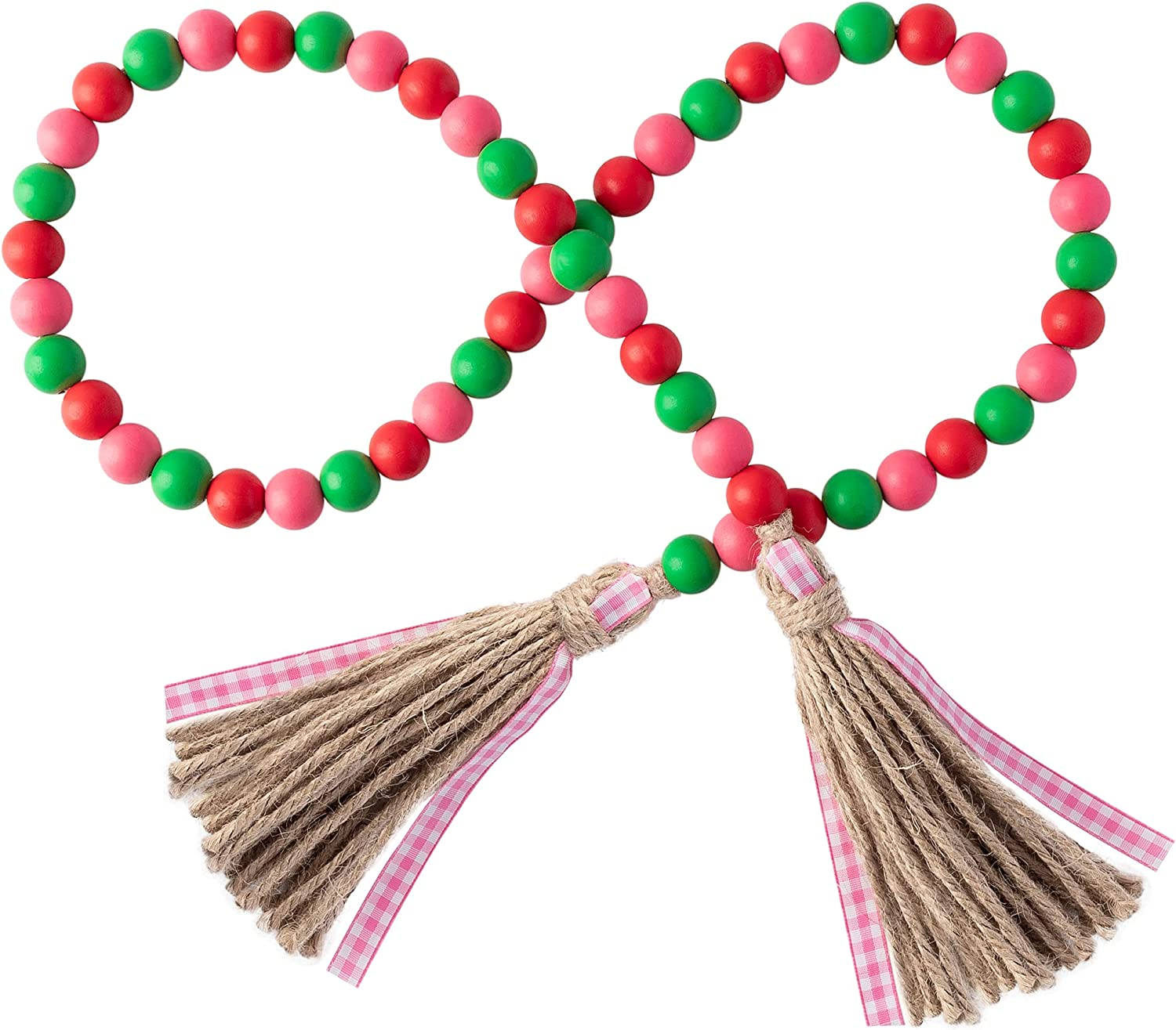 Flamingo Theme Wood Bead Garland with Tassel Green Pink Red Wood Garland Summer Rustic Farmhouse Tiered Tray Decorations Country Rustic Wall Hanging Decor Natural Wood Bead Decoration for 2021 Summer
