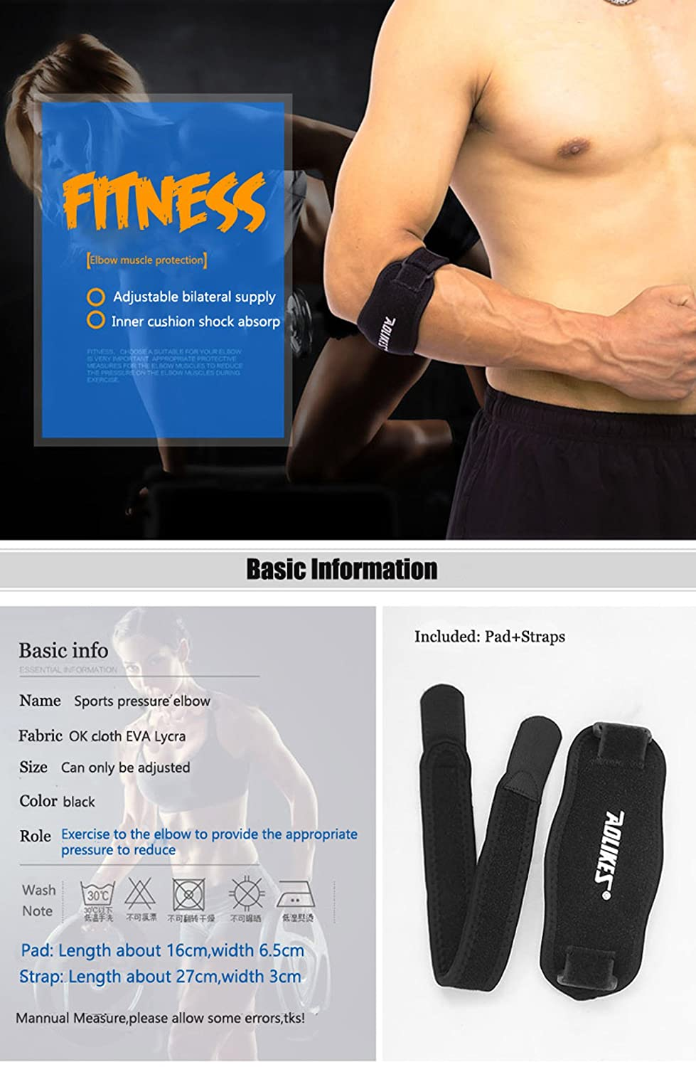 AOLIKES Best Tendonitis Elbow Brace with Compression Pad for Men & Women - Great Support & Pain...