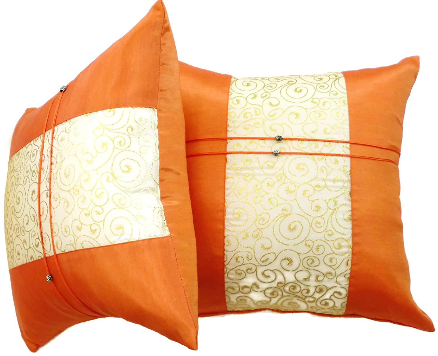 Set of Two Orange Silk Throw Cushion Pillow Covers Gold Print Middle Stripe for Decorative Living Room Bed room Sofa Car Size 16 x16 Inches