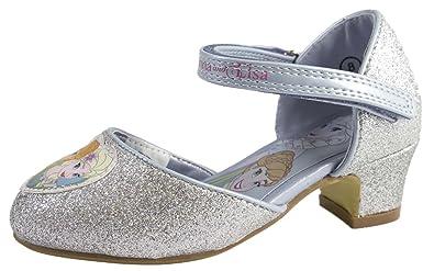 Disney Kids Girls Frozen Dress Up Shoes Glitter Princess Anna Elsa Low Heels  Size UK 7 623358b97b5c
