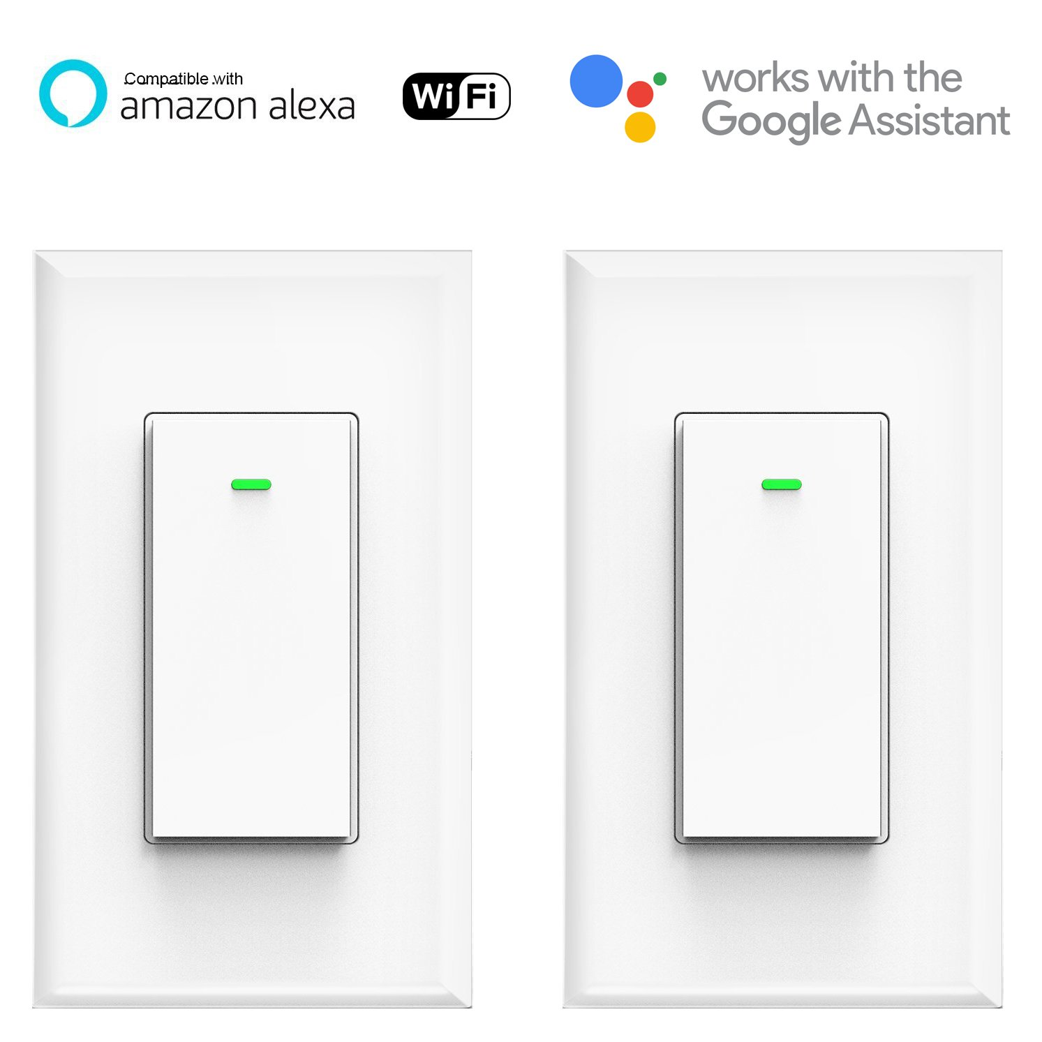 Smart Wifi Light Switch, No Hub Required, Phone Remote Control Wireless Decora Switch, Requires Neutral Wire, Timing Schedule, Compatible with Alexa and Google Home Kuled K36 (2pack)