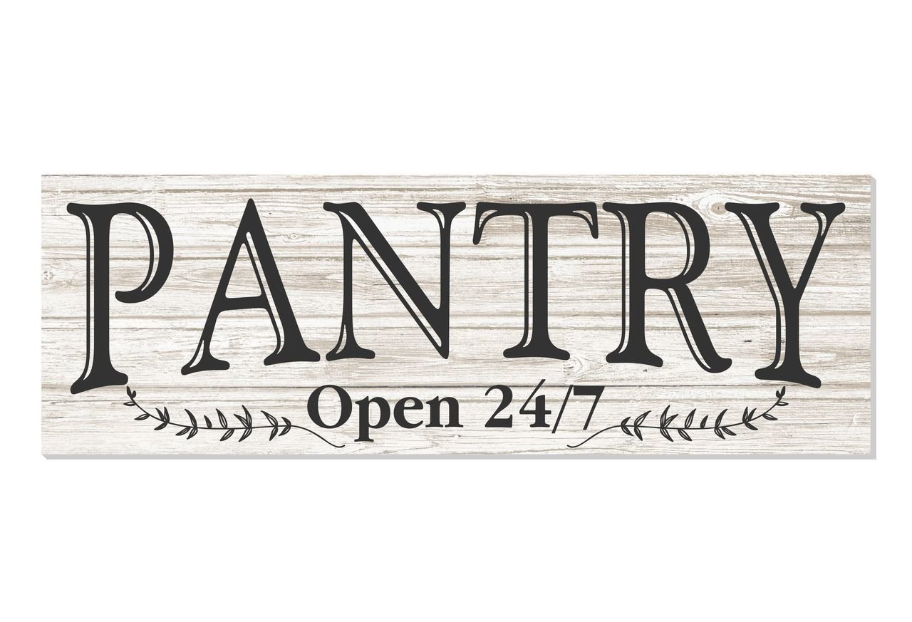 Pantry Open 24/7 White Rustic Wood Wall Sign 6x18 by MRC Wood Products