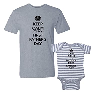 845fb54d Keep Calm It's My & Daddy's First Father's Day - Matching T-Shirt & Striped  Baby Bodysuit Set: Clothing