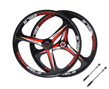 48b5d749e8e Mountain Bike wheelset 26 cassate Bicycle Wheel 3 Spokes MTB Magnesium  Alloy Wheel (Black 26