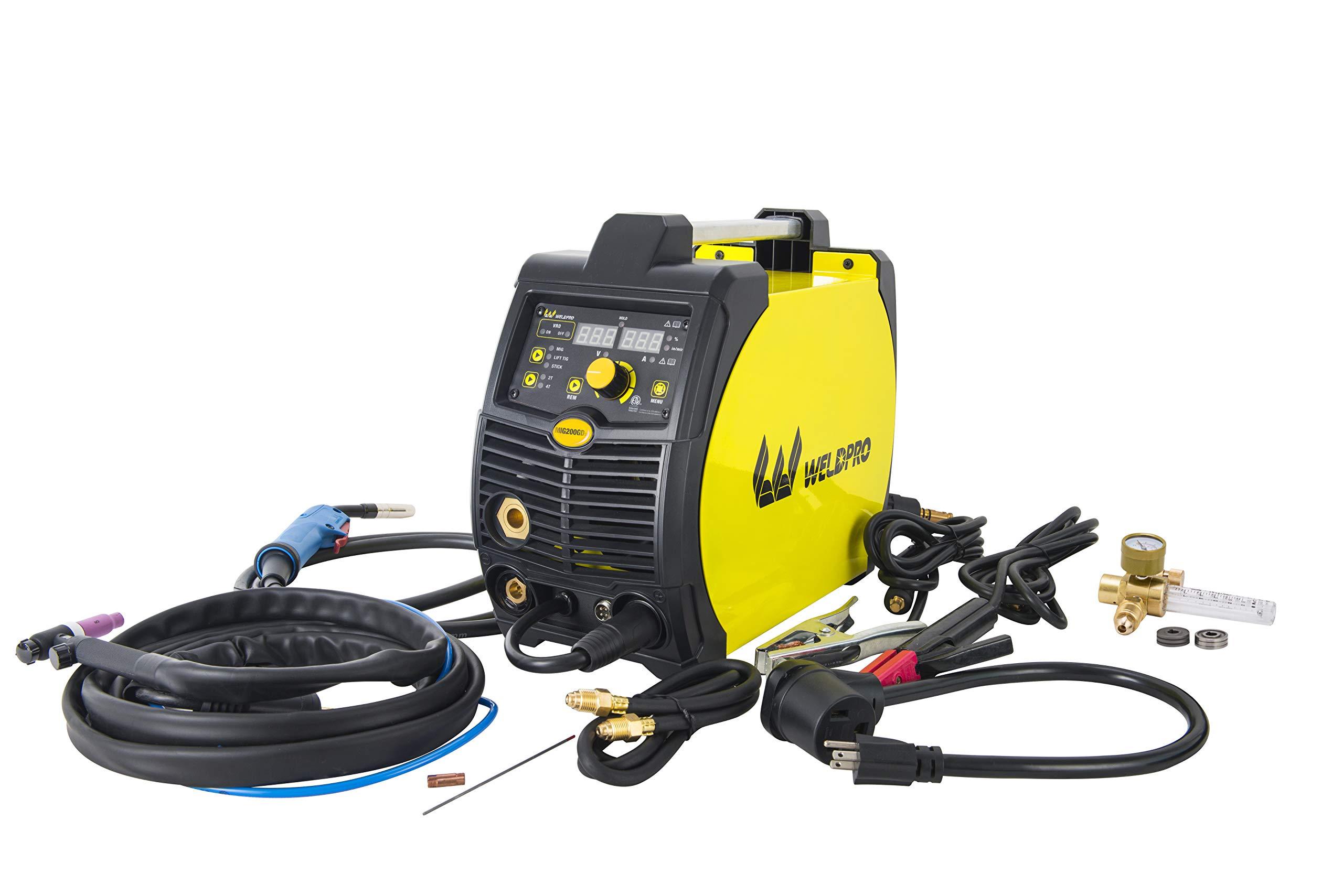 Weldpro 200 Amp Inverter Multi Process Welder with Dual Voltage 220V/110V Mig/Tig/Arc Stick 3 1 welder/welding machine by W Weldpro