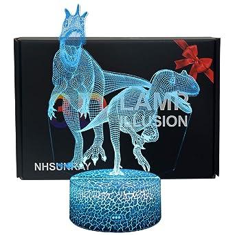 NHSUNRAY 3D Dinosaurio Luz de Noche Lámpara de Ilusión Dinosaurio ...