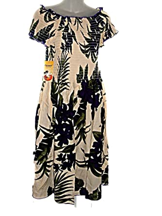 PLUS SIZE HAWAIIAN PURPLE FLOWERS FLORAL CREAM CAP SLEEVE ...