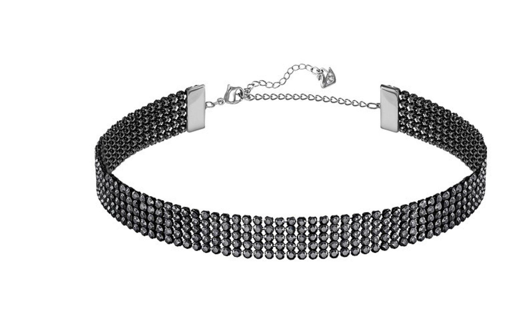Swarovski Fit Necklace Choker, Black, Ruthenium Plating, 5355185