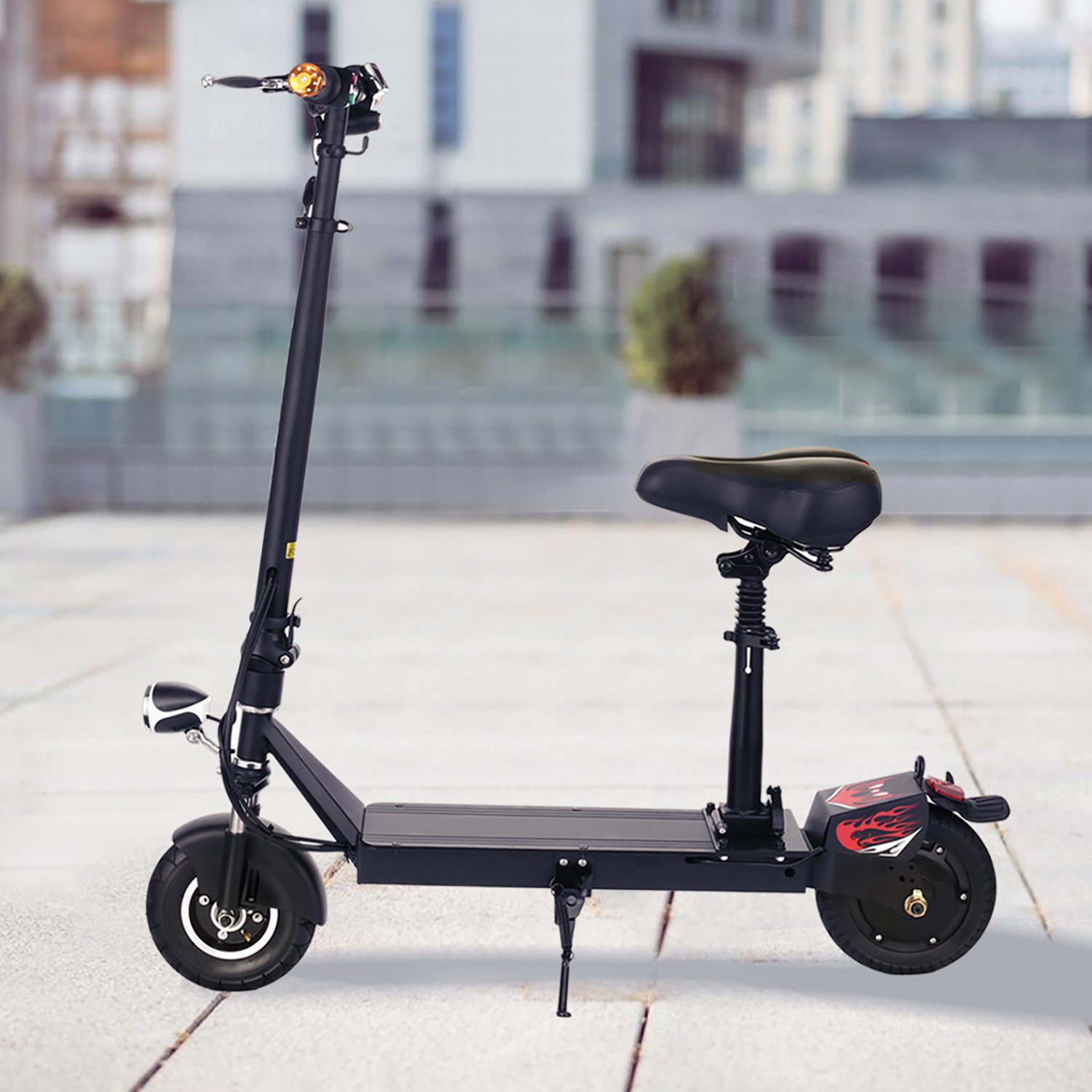 Ancheer Electric Scooters for Adults with Seat and Dual Suspension- Foldable Escooter for Women/Men Commuting with Key Start, LED Dispaly, Headlight and Fast Charge Battery