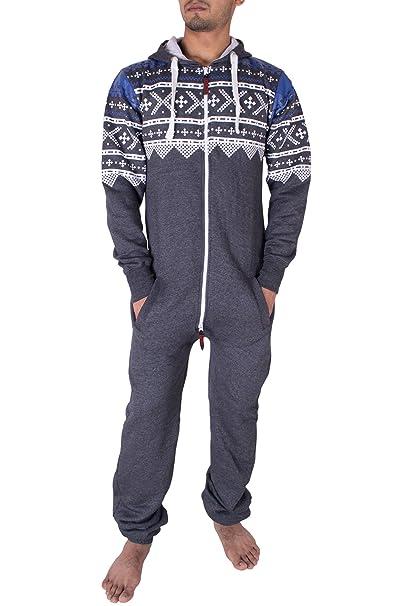 Noroze Elegante Todo en Uno Onesie Pijama de Una Pieza para Hombre