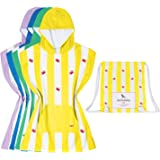 Kids Poncho Microfibre towel (Yellow, Small) - children towel hooded, absorbent & soft