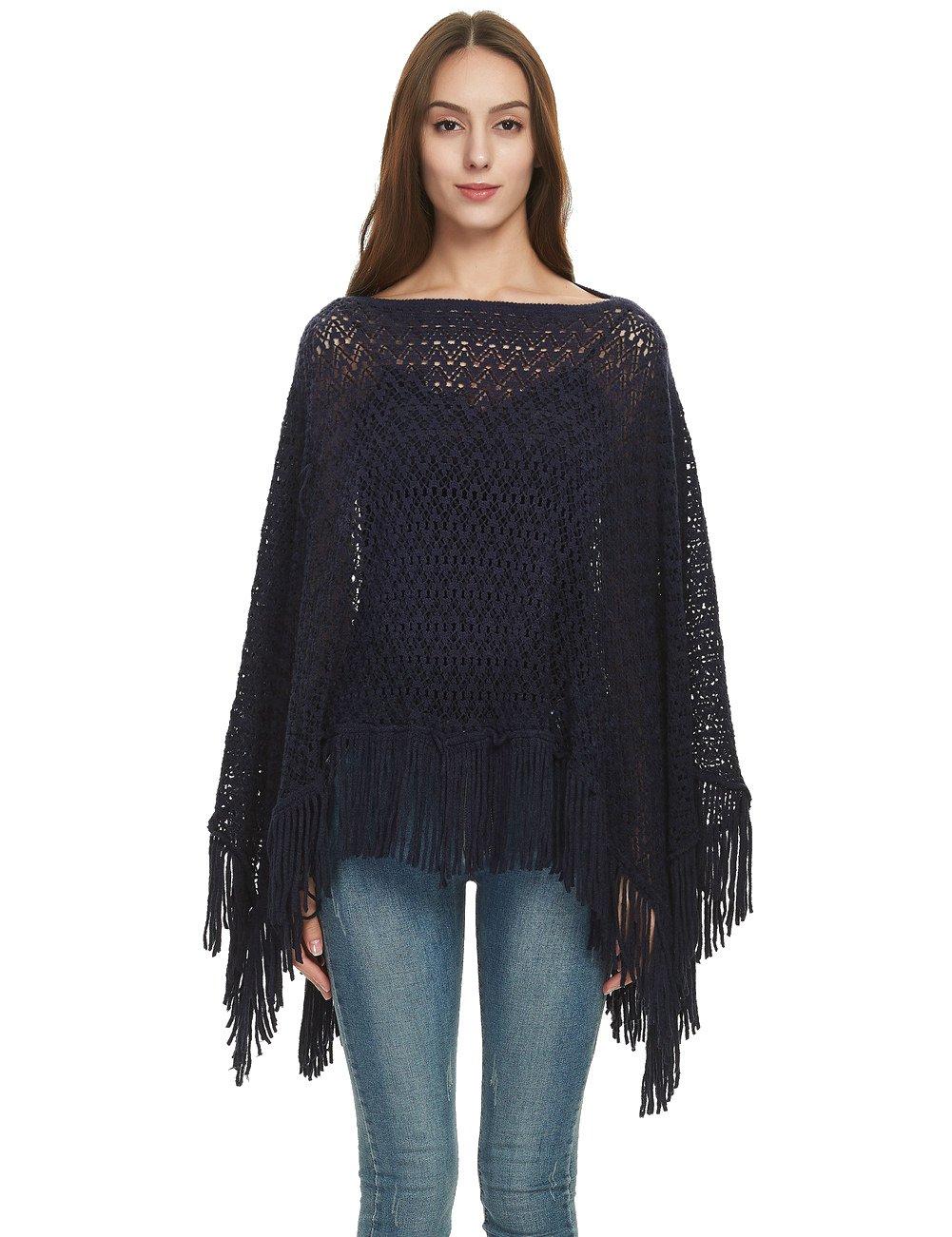 Ferand Crochet Knit Fringe Poncho Shawl Wrap Casual Boat Neck Tops for Women, One Size, Navy blue