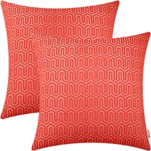 BRAWARM Pack of 2 Soft Jacquard Throw Pillow Covers Cases for Couch Sofa Home Decoration Geometric Chevron Figure 18 X 18 Inches Living Coral