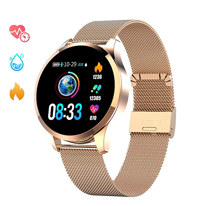Gokoo Smart Watch For Men Women With All Day Heart Rate Blood Pressure Sleep Monitor Ip67 Waterproof Activity Tracker Calorie Running Counter Gold by Gokoo