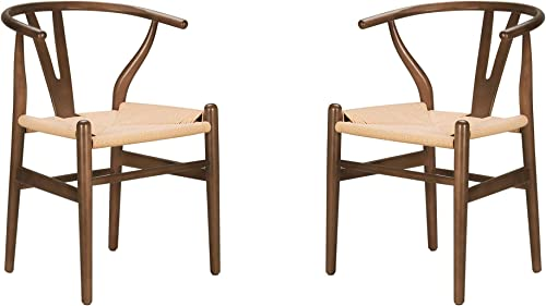 Poly and Bark Weave Modern Wooden Mid-Century Dining Chair