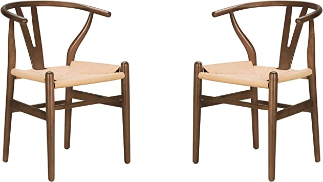 Amazon Com Poly And Bark Weave Modern Wooden Mid Century Dining Chair Hemp Seat Walnut Set Of 2 Chairs