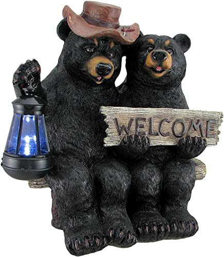 Zeckos So Happy Together Black Bear Couple Solar Welcome Statue