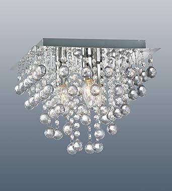 Palazzo 3 Light Square Polished Chrome Flush Crystal Acrylic